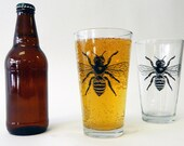 Beer Glass - Gift for Him - Bee - Pint Glass - Screen Printed - French Bee - Glassware - Screen Printed - Made in USA