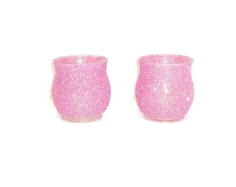 Berry Pink Glittered Votive Holder Set of 2