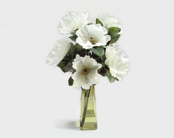 Floral Arrangement, Poppy Arrangement, Pale Green Poppies, Home Decor, Green Arrangement, Flowers In Acrylic Water,  Centerpiece, Accents