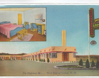 "New Mexico, Vintage Postcard,  ""Ambassador, Gallup Lodge, Gallup, N.M.,""  1950s,  #320-2."
