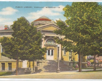 "Michigan, Vintage Postcard, ""Public Library, Cadillac Michigan,""  1940s  #362-2."