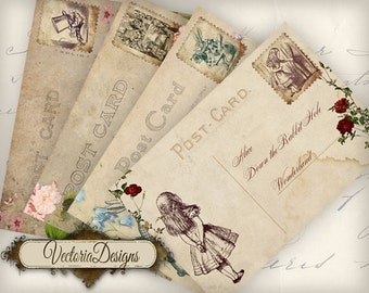 Alice in Wonderland Postcards 6 x 4 inch printable images instant download digital collage sheet VD0558