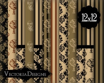 Steampunk Paper Pack 12 x 12 inch digital paper pack instant download digital paper printable digital collage sheet - VD0332