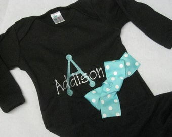 Baby Girl Gown Black with bow Newborn Infant Gown with name