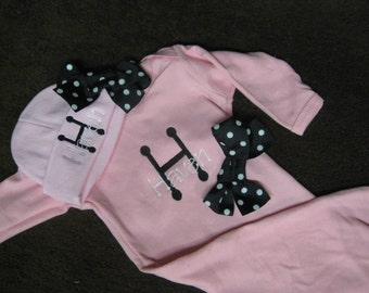Personalized Baby Girl Gown and hat set for newborn infant - Little Girl