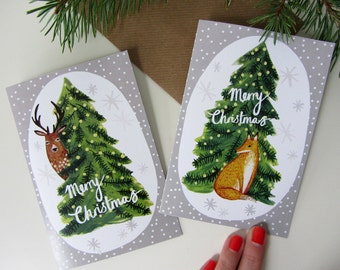 Six mixed illustrated Fox & Deer Christmas cards
