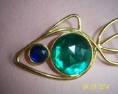 Retro Abstract Fish Brooch -  Fish Figural Pin -  Aquatic Jewelry