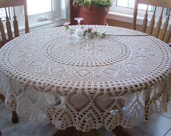 New Large Hand Crocheted Heirloom Cotton Tablecloth 70 inches