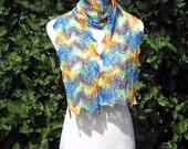 Women's / teenager hand knitted hand dyed merino and tencel lace scarf. Rainbow multicoloured OOAK.