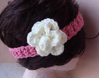 Instant Download PDF Crochet Pattern  Headband  Cream Rose  SPP-26 make it any size, newborn to adult