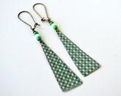 Earth Friendly Repurposed Vintage Tin Earrings/ Boho Style/ Green Triangle