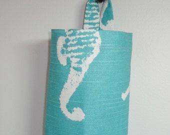 Plastic Bag Holder Grocery Bag Holder Storage Kitchen Bag Storage Blue Seahorse Nautical