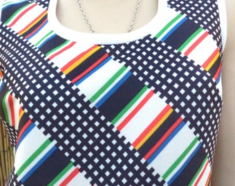 Julie Miller Vintage 60's Colorful  MOD Sleeveless Top Sz Small