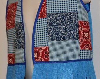 Play Vest, girl or boy,  bandana print, blue, child sizes, in Cotton print and felt, handmade, USA