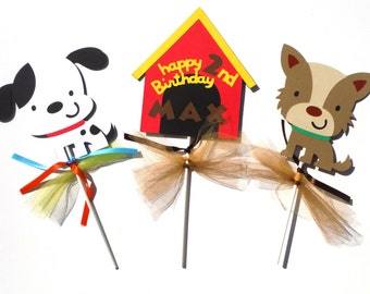 Puppy Dog Party Themed Centerpiece Sticks Set of 3 for a Birthday Party Personalized with Name and Age
