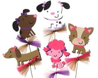 5 Puppy Dog Party Girl Themed Centerpiece Sticks Set for a Birthday Party