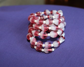 White and Pink Memory Wire Bracelet