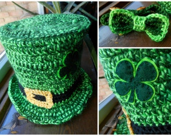 St. Patrick's Day Leprechaun Hat and Tie set-MADE to ORDER- Newborn to Toddler sizes- photo prop, costume