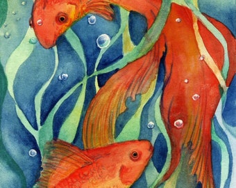 "Koi Fish Art Print ""Koi Dream II"" Fantasy Art"
