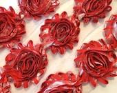 "SHINY Red Shabby Rose Trim 2.5"" Shabby Flowers Shabby Chiffon Flowers Shabby Chic Trim Wholesale Rosette trim silver & Red 6cm"