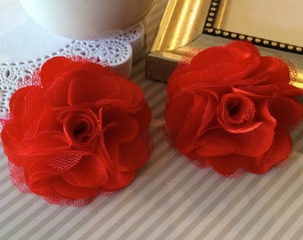 Red Flowers - Small 2.5''  Satin mesh red  fabric flowers (2 pcs) - use for hair flower shoe clip flower headband flowers bridal wedding