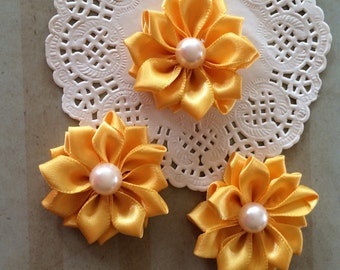 """Small Yellow Fabric Flowers (6 pcs)  - 1.5 """" Satin flowers with pearl centers flower embellishment - Sweetheart accent flowers applique"""
