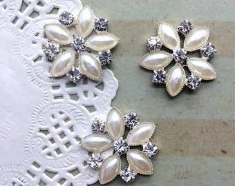 "6 pcs - Crystal Pearl embellishment flat back  - 3/4"" silver rhinestone pearl 20mm bridal wedding accessories vintage button flower center"