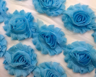 "Light Blue Shabby Rose Trim 2.5"" Shabby Flowers Shabby Chiffon Flowers - Solid Shabby Chic Trim Wholesale Rosette trim 6cm 1 yard #602"