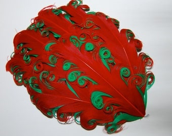 Curly Feather Pad - Two Tone Red on Emerald Green FP249 - (1 pc) Christmas Holiday feather pads