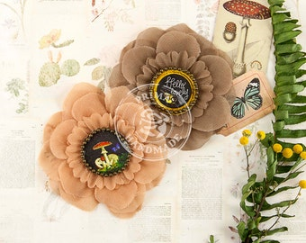 Brown and Peach fabric flowers  Forever Green Seedling 578763 (2 pcs) layered flowers with custom centers- hair flower headband decoration