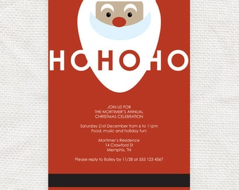 ho ho ho santa christmas party invitation - printable file - editable - father christmas