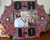 Ohio State Picture Frame with O-H-I-O and Buckeyes in red and gray