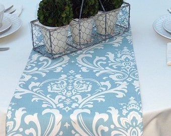 Choose your Table Runner, Village Blue Damask Table Runners for Wedding Decor, Birthday Parties, Party Decor, Holidays - You Select Size
