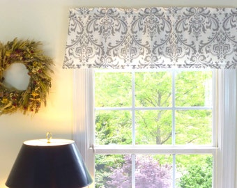 Grey Window Valance - Window Valance - 52 x 16 Valance - Window Treatment - Damask White & Grey Window Valance with Ruflled Top