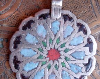Enamel Moroccan  round pendant