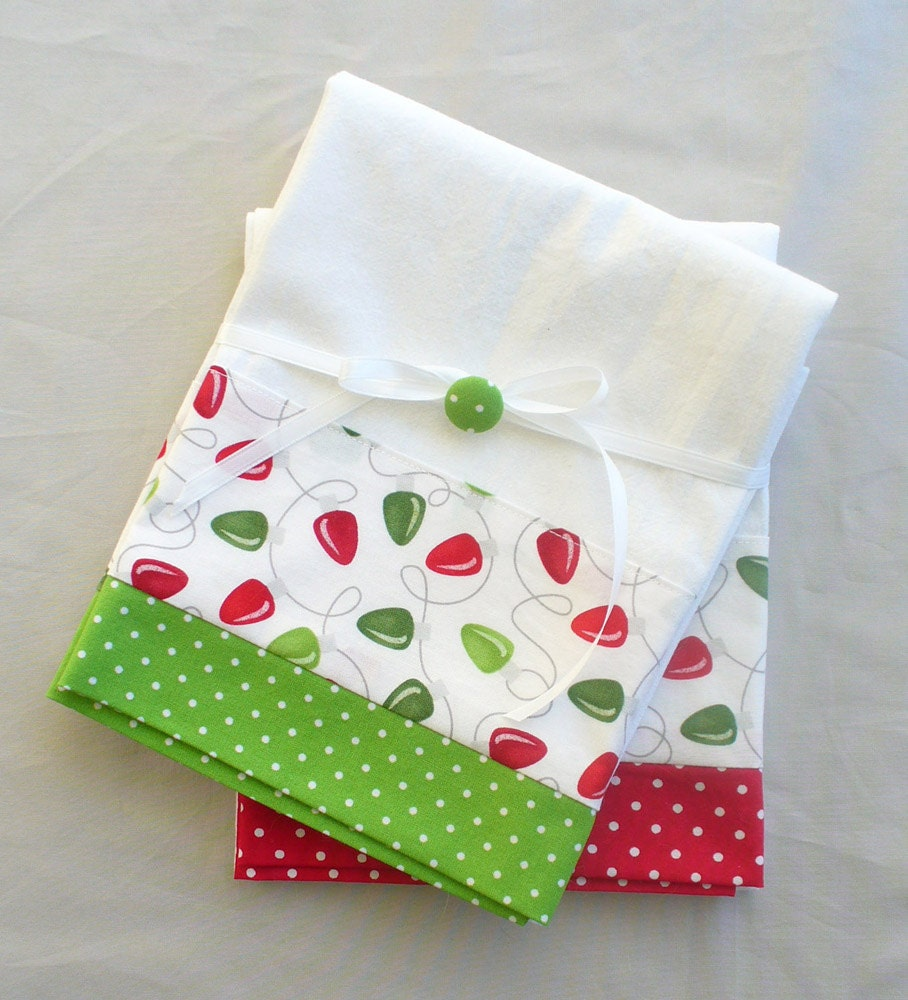 Kitchen Towels Christmas Lights In Red And Green Cotton Set