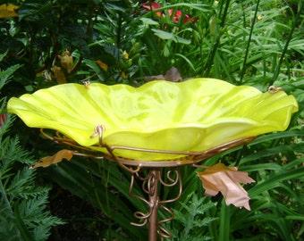 "BIRD BATH, Stained Glass, YELLOW, 8.25"" diameter, Copper, Home Decor, Garden Art, Bird Feeder, Garden Suncatchercatcher"