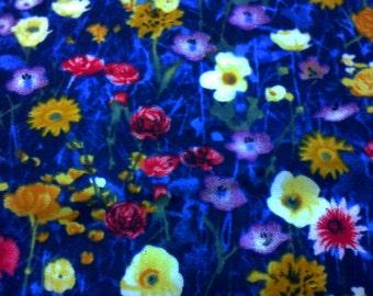 Flowers among weeds, dark blue, fat quarter, pure cotton fabric