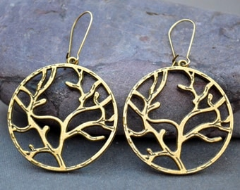 Large hoop earrings round earrings Boho earrings tree earrings tree of life earrings nature earrings charm dangle earrings bohemian earrings