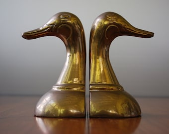 Vintage Pair of Brass Duck Head Bookends - Minimalist