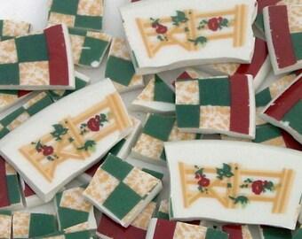 FREE SHIPPING 84 Country Inn Mosaic Tiles Tesserae Handmade Dinnerware Plates Dishes Flowered Mosaics