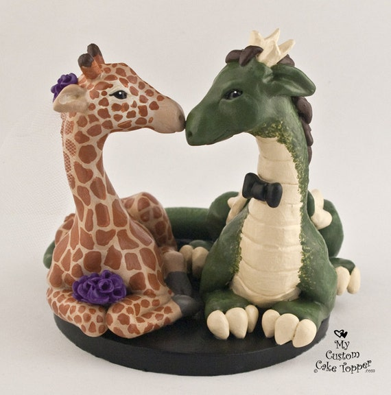 Giraffe and Dragon Wedding Cake Topper