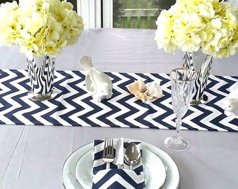 Navy Blue CHEVRON Table Runner, Wedding Table Topper, Table Cover, Available In different Lengths