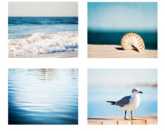 Seaside Photo Set - blue ocean sea beach photography, water nautical four prints 4, beige brown seashore wall art dark, coastal photographs