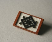 Black Tribal Style Vintage Lace on Cream Felt Wooden Brooch, Lace and Mahogany Series