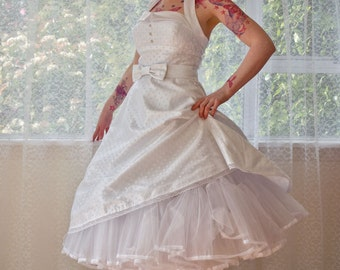 1950's Rockabilly 'Glenda' Polka Dot Wedding Dress with  Lapels, Bow Belt, Tea Length Skirt and Petticoat - Custom Made to Fit
