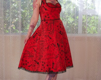 """1950's """"Melody"""" Rockabilly Red Music Note Halterneck Dress with Black Lace Trim - Custom made to fit"""