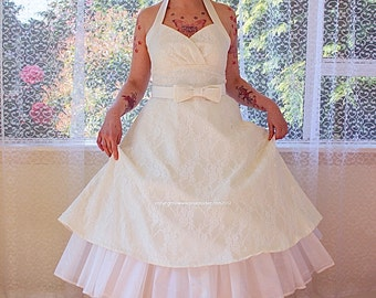 "1950's ""Arabella"" Ivory Lace Wedding Dress with Duchess Satin Halterneck Trim and Belt, Tea Length Skirt and Petticoat - Custom made to fit"