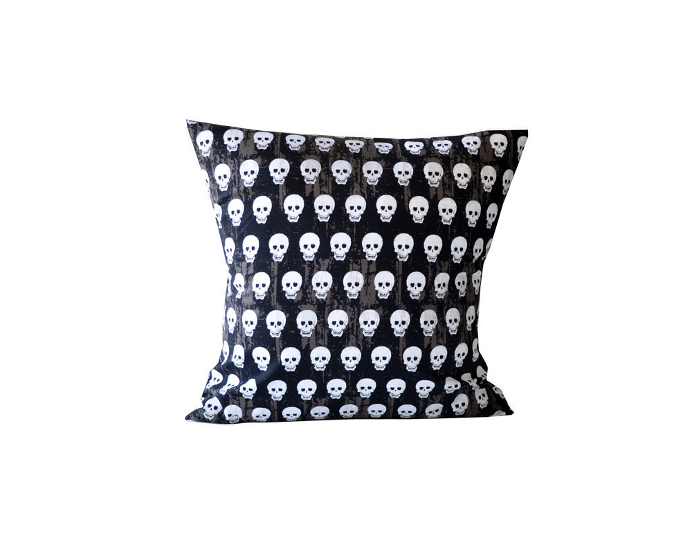Skull Pillow. Black Brown White Decorative Pillow. by TMHstyle