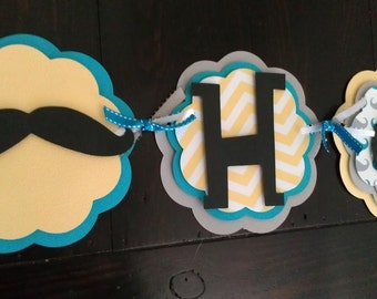 Mustache Bash.  Little man Birthday.  Mustache birthday banner.  Neck tie Birthday banner.  Lil' man birthday  Preppy Birthday